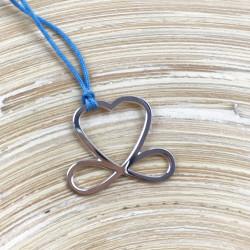 Collier - Coeur de liberté (cordon soie) - Bleu