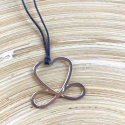 Collier - Coeur de liberté (cordon soie) - Gris anthracite